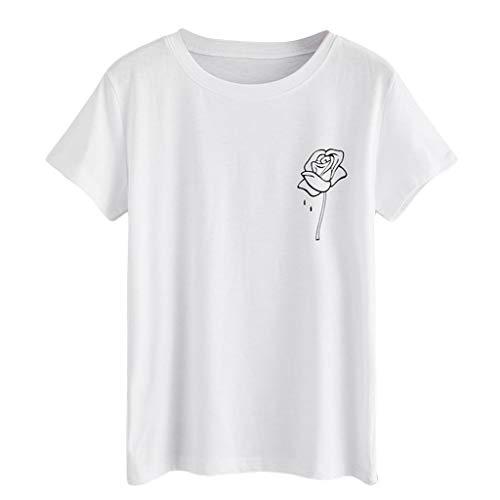 t Blusen O-Ausschnitt Rose Print Sommer Oberteile Solide Kurzarmshirts Neu 2019 (Weiß, XL) ()