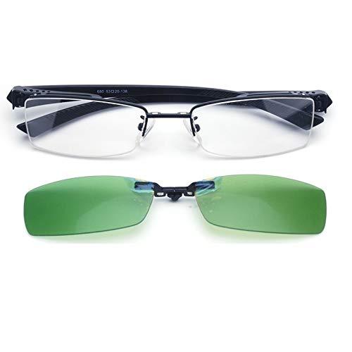 LKVNHP Neue Hochwertige Clip Auf Sonnenbrille Männer Polarisierte Sonnenbrille Für Männer Nacht Fahren Faltbare Linse Titanium Fit Über Myopie BrillenRahmen Und Grüne Linse