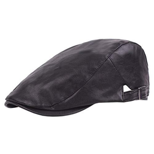 HX fashion Unisex Flatcap Beret Pu Leder Gatsby Hut Bequeme Größen Sport Cap Schiebermütze Baskenmütze Cap Schirmmütze Kleidung (Color : Schwarz, Size : One Size)