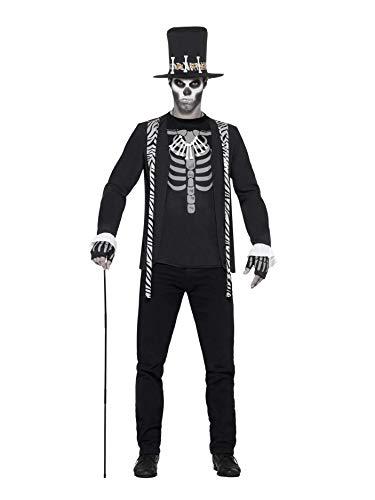 Smiffys 45569L - Herren Hexen Doktor Kostüm, Jacke, T-Shirt, Hut, Kette und Handschuhe, Größe: L, schwarz