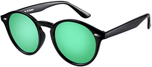 La Optica UV 400 Damen Herren Retro Runde Sonnenbrille Round - Einzelpack Glänzend Schwarz (Gläser: Grün verspiegelt)
