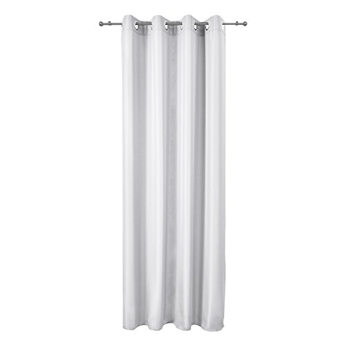 Beautissu Blickdichter Ösen-Vorhang Amelie – 140×245 cm Weiß Uni – Dekorative Gardine Ösenschal Fenster-Schal - 4