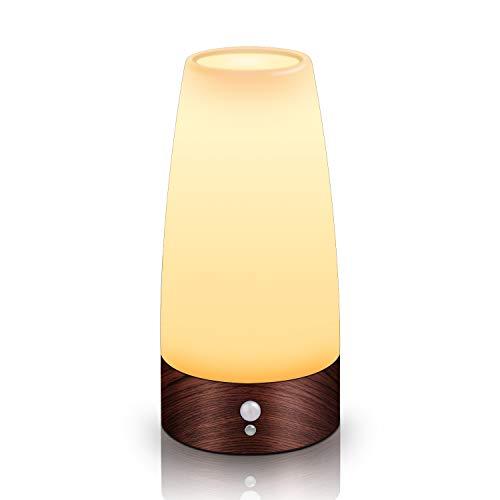 Aappy retro piccola notte luce europea stile cordless pir movimento sensore a pile led lampada da tavolo bar decrative luci per lavabo comodino, camera da letto, bagno, corridoio 3 aaa (wood)