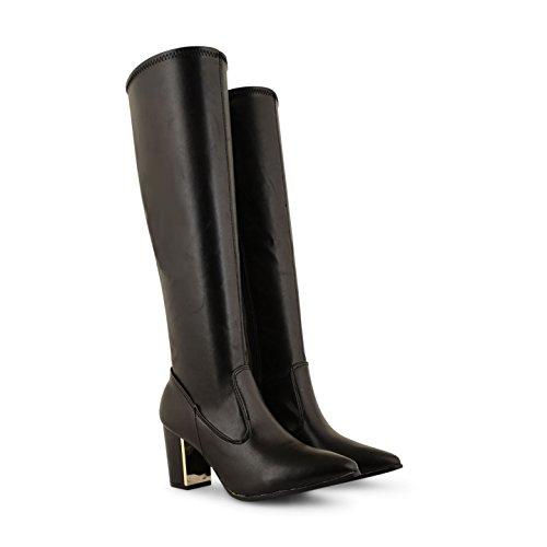 Damen Mid Damen Blockabsatz Stiefel aus Wildleder Leder unterhalb des Knies, Länge lang, Schwarz (Black Pu)