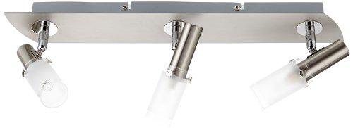 Nino Joy 82660301 Suspension halogène 3 ampoules en nickel et verre Blanc/transparent 42 cm