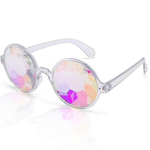 1 stücke Förderung Kaleidoskop Gläser Fabrik Kristalllinse Kaleidoskop Sonnenbrille Party Gläser, Rave 3D Gläser (Color : Clear Color) (Der Promis Besten Halloween-kostüme Die)