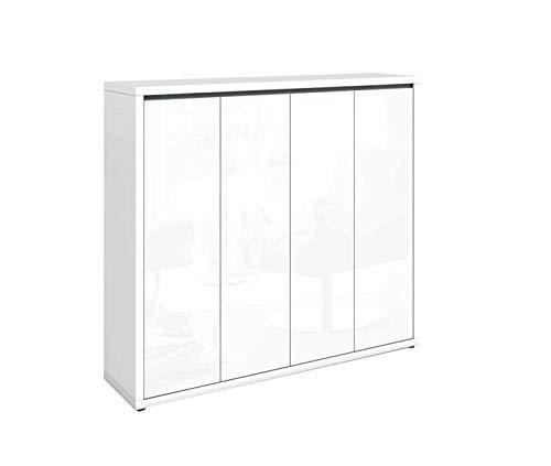 Schuhschrank Sideboard Kommode | Dekor | Weiß Hochglanz | 4 Türen