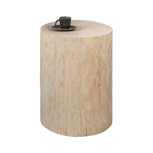GREENHAUS Baumstamm Beistelltisch rund 25-30 cm Fichte ungeölt massiv Handarbeit und Massivholz aus Deutschland Holzstamm