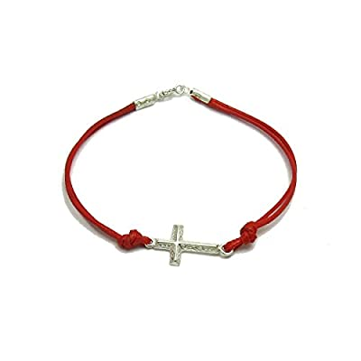 Bracelet en argent massif 925 Croix avec rouge corde
