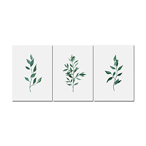 azalea store Aquarell Farn-Wand-Kunst-Leinwand druckt italienische Ruscus Gemälde Green Leaf Wandbild für Wohnzimmer Botanical Dekor, 60x90cm kein Rahmen, 04 -