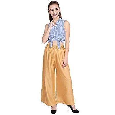 Optimystic Rayon Gold Navy Blue Plazo Pant Indian Ethnic Plain Casual Wear Plazo Pant Women's Girls