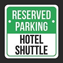 JeremyHar75 Reserved Parking Hotel Shuttle Druck Schwarz Weiß Grün Parkplatz Square Blechschild Küche und Esszimmer Haus Dekor Essen Trinkbar Bar 30 cm x 30 cm