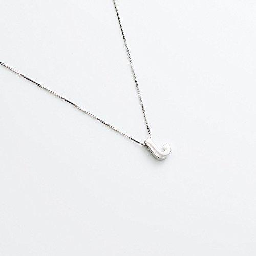 Hongrun Collar de plata pura 925 niñas letra J Inglés Joyería Colgantes cadena clavícula silvestre regalo de Navidad
