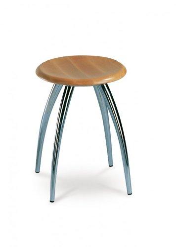 Mayer Sitzmöbel Designhocker 1163 Gestell chrom oder perlsilber Sitz rund Buche massiv naturfarbig Gestell perlsilber Sitz Buche massiv