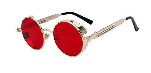Daawqee Round Metal Sunglasses Steampunk Men Women Fashion Glasses Designer Retro Vintage Sunglasses UV400 Gold w sea red
