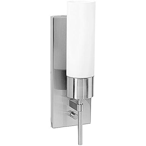 Accesso illuminazione 50562-bs-opl acquosa 1luce da parete in vetro opale, con interruttore, in acciaio spazzolato