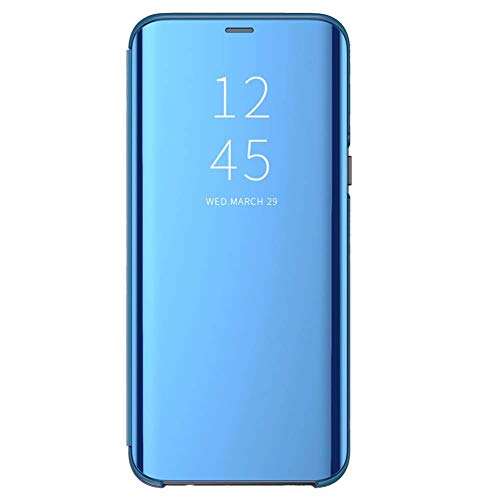 Carcasa Compatible/Reemplazo para Xiaomi Redmi 5 Plus Funda Tapa Libro Flip Clear 360° Protectora Caso Modelo Fecha Espejo Translúcido Slim PC Duro Anti-Scratch Teléfono Cubierta (Azul)