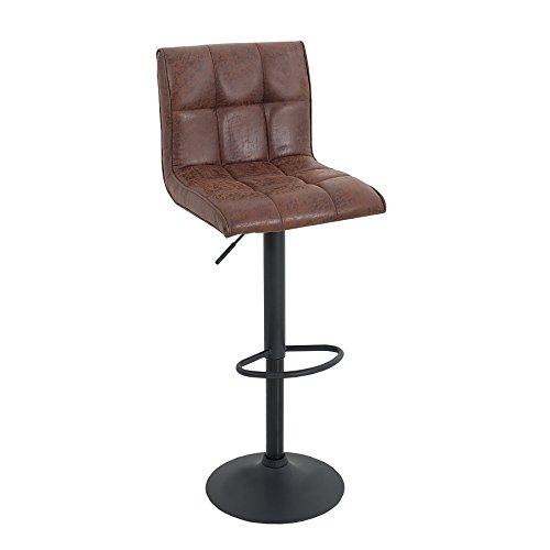 Invicta Interior Stylischer Barhocker Modena Vintage braun Barstuhl mit schwarzem Metall Gestell Hausbar Hocker Stuhl Tresenstuhl höhenverstellbar Küchenstuhl