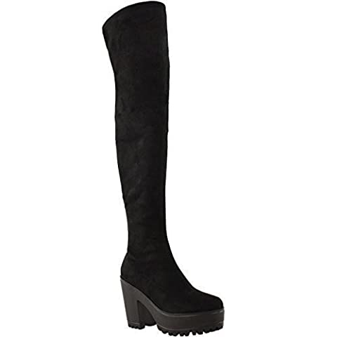 WOMENS LADIES SEXY OVER THE KNEE THIGH HIGH CHUNKY PLATFORM