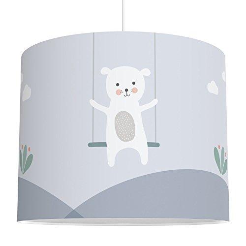 LALAVI Lampenschirm fürs Baby- und Kinderzimmer (Ø 40 cm) - Für Deckenlampe oder Stehlampe - Mit Liebe hergestellt in Deutschland (Blau)