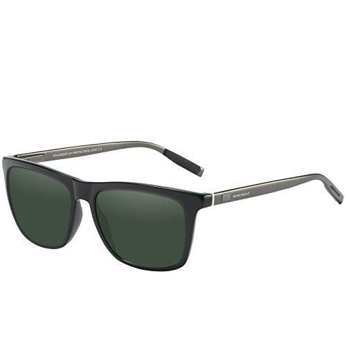 WHCREAT Unisex Retro Polarisierte Sonnenbrille Vintage Mode Design Fahren Ultraleicht Spiegel Linse für Herren und Damen - Waffen Arme Grüne Linse