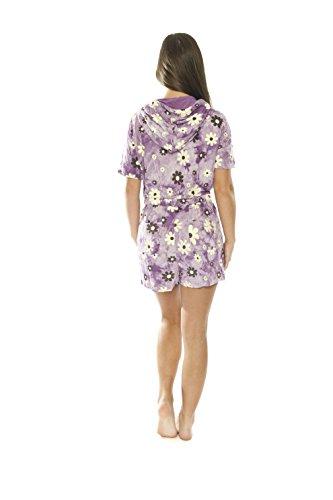 Jumpsuit Damen Nachtwäsche Onesie Pajama Strampelanzug Schlafanzüge Overall mit kapuze Airee Fairee Lila Blumen