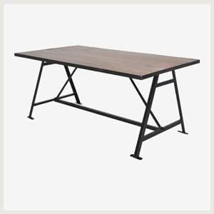 table kennedi table style industriel table manger bois et m tal cuisine maison. Black Bedroom Furniture Sets. Home Design Ideas