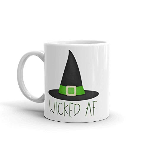 Funny Mug 11oz - Wicked AF - Halloween Coffee Mugs Happy Hallowe'en The Wicked Witch Hat Hocus Pocus Witches Spooky Curse Words Cuss (Halloween Pocus Hocus Happy)