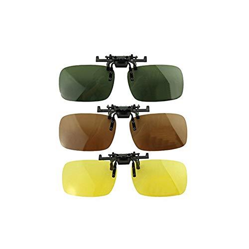 3 PCS Unisex UV400 polarisierte Linse Rahmenlose Rechteck Objektiv Flip Up-Clip auf Prescription Sonnenbrillen Brillen Night Vision Brillen