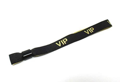 Twist4 10 VIP Stoff Einlassbänder VIP Stoffbänder Kontrollbänder VIP Eintrittsbänder 10 Stück - schwarz/Gold Glitter Glitzer