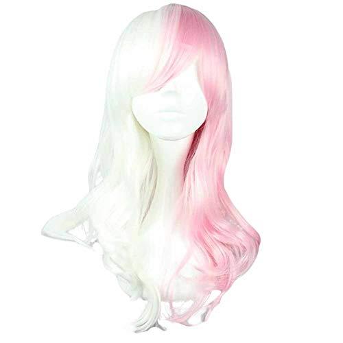 Rose/Blanc 50 cm 2 cosplay ton pleine perruque de longs cheveux bouclés perruque de cheveux synthé
