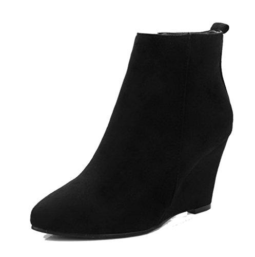 AgeeMi Shoes Donna Zip Scarpe a Chiusa Scamosciati Zeppa Stivaletti,EuX57 Nero 37