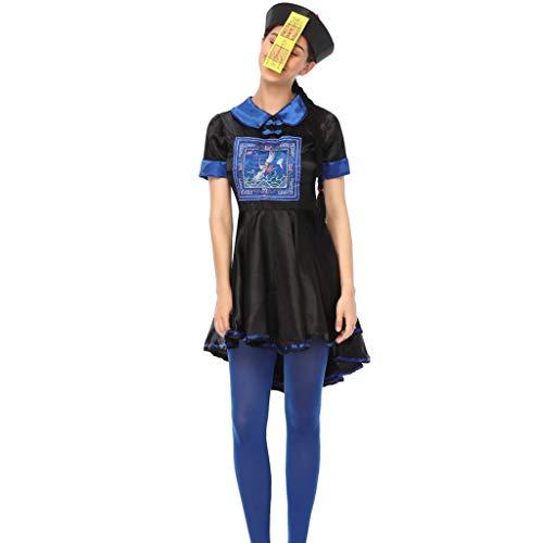 Halloween Cosplay Kostüm,Frauen Halloween Cosplay Kurzen ärmeln Chinesische Leiche Kostüm Spielen Langes Kleid,Halloween Kostüm Kleid Party Kleider + Hut Outfit Cosplay Tanz Rave Für Festival (XL) (Chinesische Fancy Dress Kostüm)