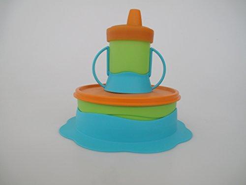 TUPPERWARE Kinder Teller 500ml + Trinkbecher 200ml Schnabelbecher Babyteller