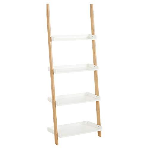Hartleys Treppenregal in Weiß & Bambus, mit 4 Böden