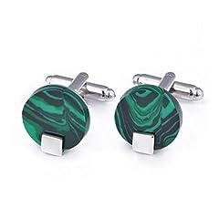 Idea Regalo - LSS Gemelli Rotondi, Smeraldo Peacock Graphite Green Studs Decorazione Abiti da Uomo - 2 Paia