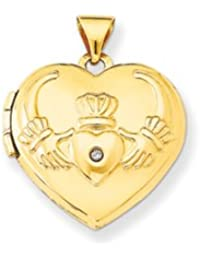 14k Diamond Claddagh Heart Locket by UKGems