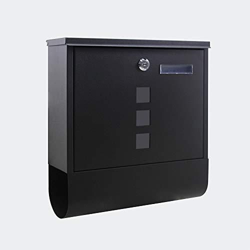 Briefkasten mit Zeitungsrolle in Schwarz für Wandmontage inkl. 2 Schlüssel Wandbriefkasten Post