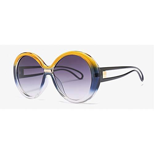 Yuanz Mode Runde Sonnenbrille Frauen Schwarz Übergroße Sonnenbrille Weibliche Accessoires Uv400 Grün Gelb,G