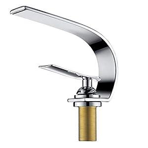 Charmingwater Waschtischarmatur modern C Stile Wasserhahn Bad Armatur Einhebelmischer Mischbatterie Waschbeckenarmatur, Chrome