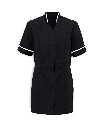 Workwear World WW102 Ladies Mandarin colletto Nurse, assistenza sanitaria o agire maglia tubolari a contrasto Black/White Piping 44