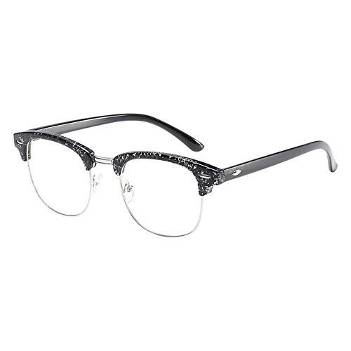Xinvision Klassische Nerdbrille,Retro Ebenenspiegel Klare Linse Metall Bügel Halb Rahmen Brille...