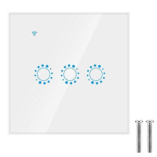 Interruptor táctil inalámbrico WIFI inteligente de 3 vías, interruptores de luz de...