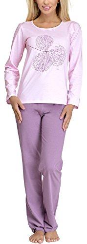 Lange Muster Warme Baumwolle (Merry Style Damen Schlafanzug 286 (Rosa, L))