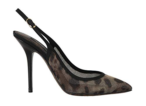 Dolce & Gabbana - Damen Schuhe - Pumps Brown Leopard Stretch Slingbacks Shoes Dolce Gabbana Pumps