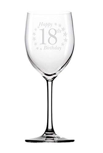 Happy 18. 18Geburtstag Weinglas mit Gravur Neuheit Geschenke Geschenk für Damen Frauen Sie Mädchen Girl