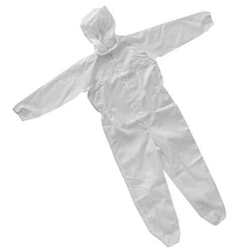 FLAMEER Maler Malerin Dienstkleidung Set Arbeitshemden Arbeitshose Schutzanzug Ganzkörperanzug Arbeitsoverall Schutzbekleidung - Weiß