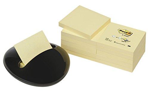 Post-it PBL-B12Y Z-Notes Spender in Stein-Form schwarz, inkl. 12 Blöcke Post-it Z-Notes a 100 Blatt, gelb, 76 x 76 mm