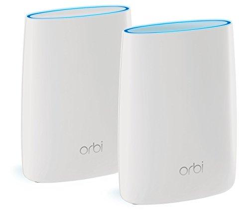 Netgear Orbi RBK50-100PES AC3000 Tri-band Mesh WLAN System (funktioniert mit Alexa, Daisy Chain, MU-MIMO, Single SSID, QoS, bis zu 350 m2 Raumabdeckung, Gäste Netzwerk und 7x Gigabit Ports) weiß matt - Netgear Wireless Router Kabel Modem