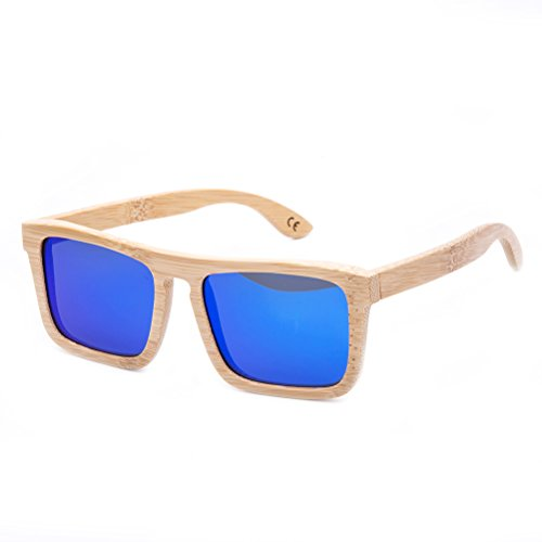 1 Pieza Gafas De Sol Polarizadas Cuadrados Retro Hechas A Mano De Bambú UV400 Con Estuche De Gafas Para Hombres Y Mujeres (1)